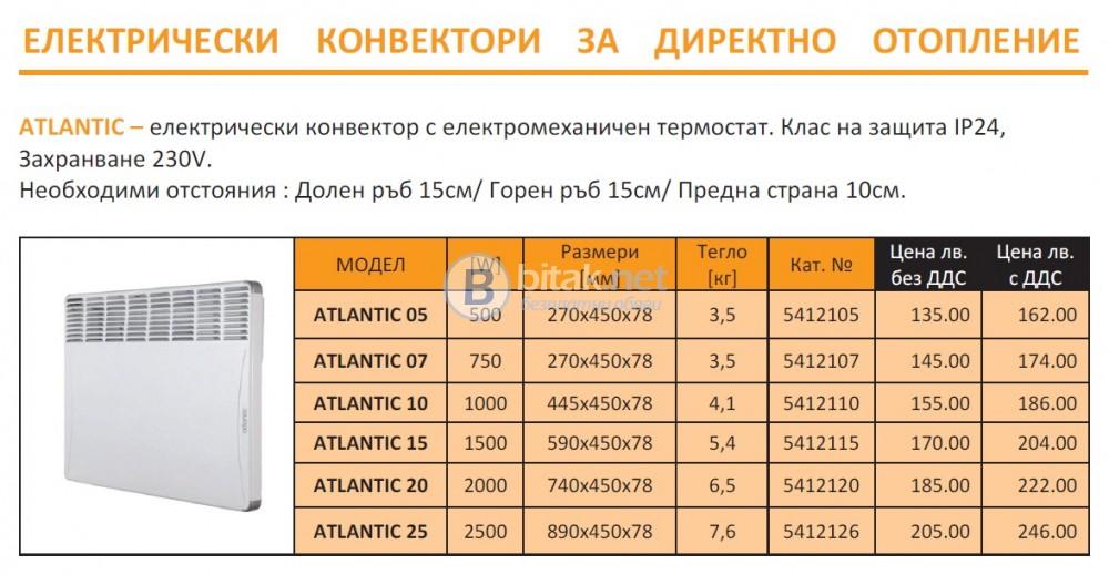 Електрически конвектори atlantic/ франция - 7 год. гаранция