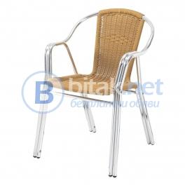 Стол с подлакътници грийн от алуминий и синтетичен ратан