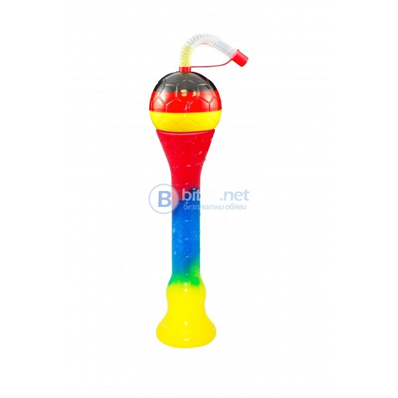 Атрактивни чаши с футболна топка за скрежина,смути и фреш 330мл
