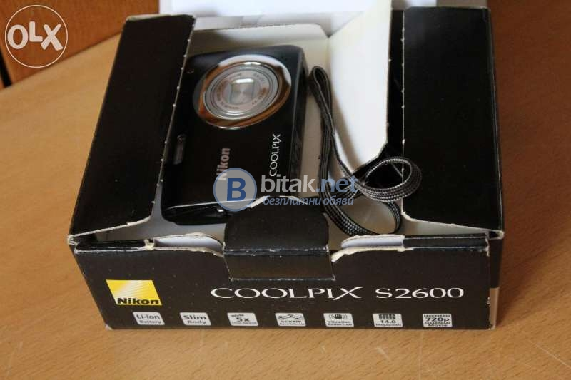 Фотоапарат hd nikon coolpix s2600, 14mp като нов