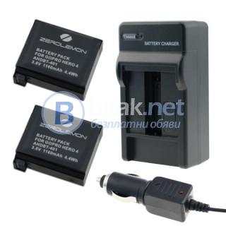 Gopro hero 4 комплект zerolemon - 2 батерии, зарядни