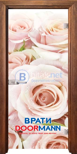 Стъклена интериорна врата, Print G 13-7 Рози