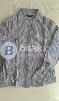 Дамска риза в сиво с еластан и намачкан ефект