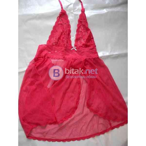 *Дизайнерска еротична нощница тип babydoll,червентюл и дантела, марка Victoria's Secret ,размер S