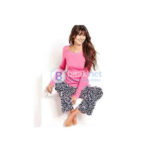 М размер, дамска памучна пижама от две части, animal print и розово, марка Body