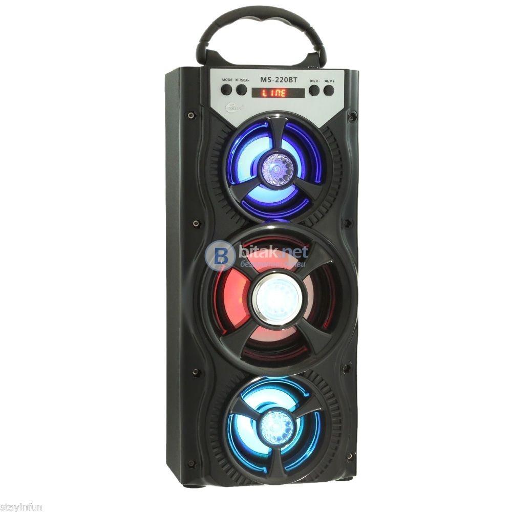 Портативна FM колонка MS-220 BT-+,Bluetooth+MP3+цветомузикa