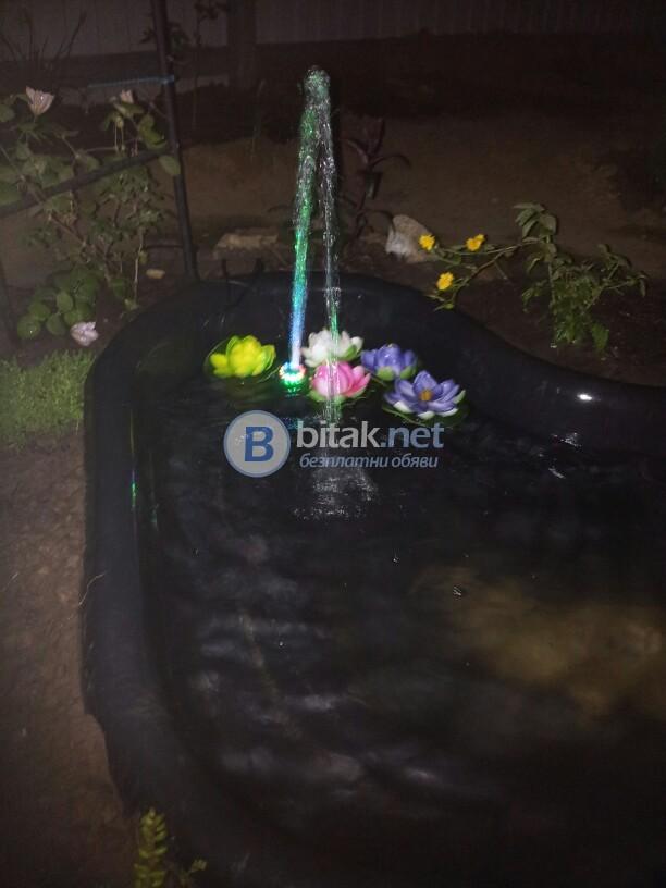 Декоративен градински фонтан с лед светлини водна помпа за аквариум шадраван езерце декор нов