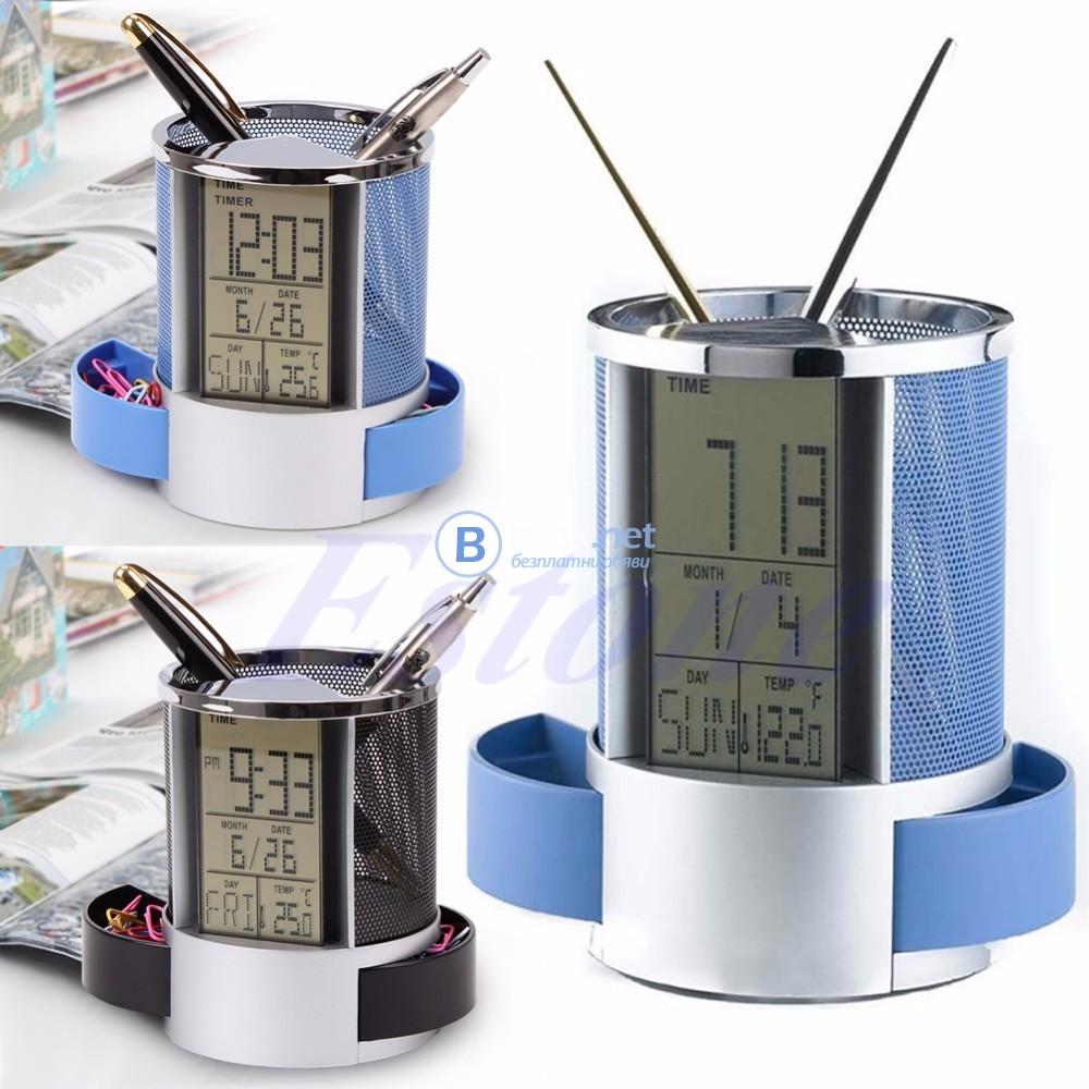 Дигитален моливник LCD часовник дата час термометър офис органайзер