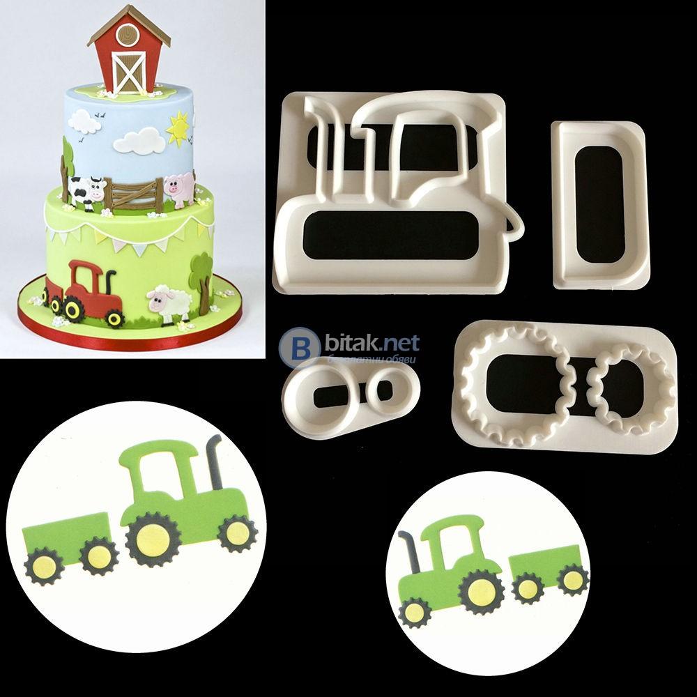 резци шаблон трактор молд декорация за сладки торти тесто моделиране