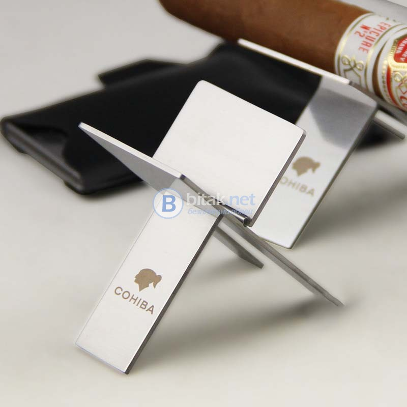 COHIBA сгъваема Стойка за пура държач цигара неръждаема стомана стилен подарък