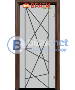 Стъклена интериорна врата, Gravur G 13-5, каса Орех