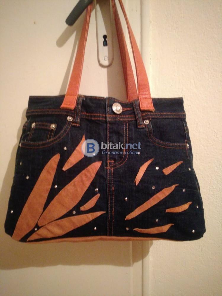 Ръчно изработена дамска дънкова чанта с естествена кожа и камъни