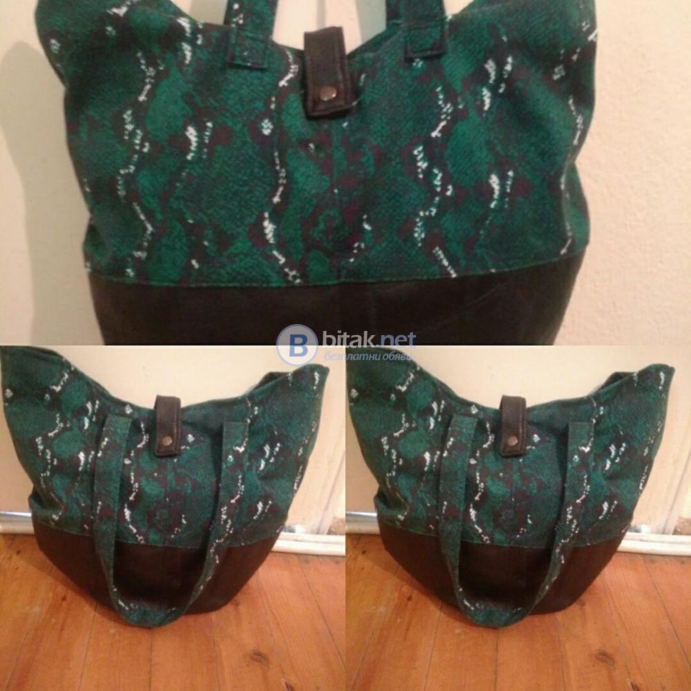 Дамска чанта от деним и кожа