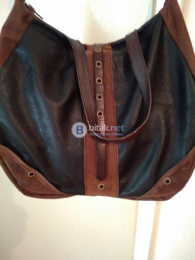 Ръчно изработена дамска чанта в два цвята от естествена кожа