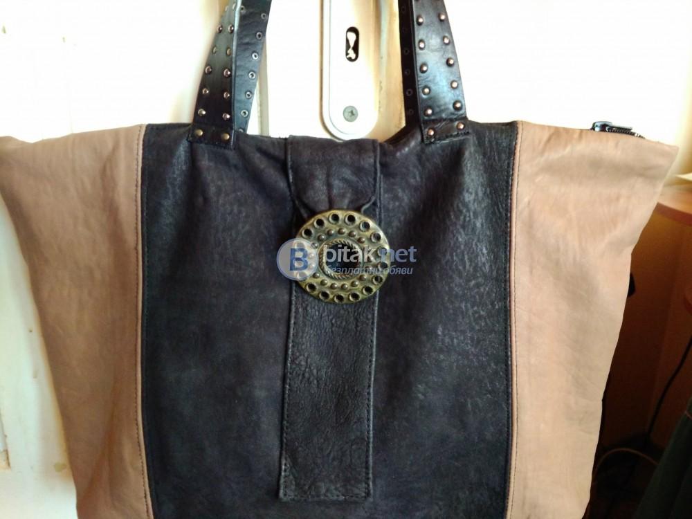 Дамска чанта от естествена кожа-ръчна изработка