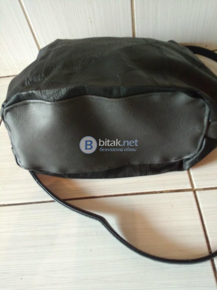 Дамска чанта в черно и сиво с дълга дръжка