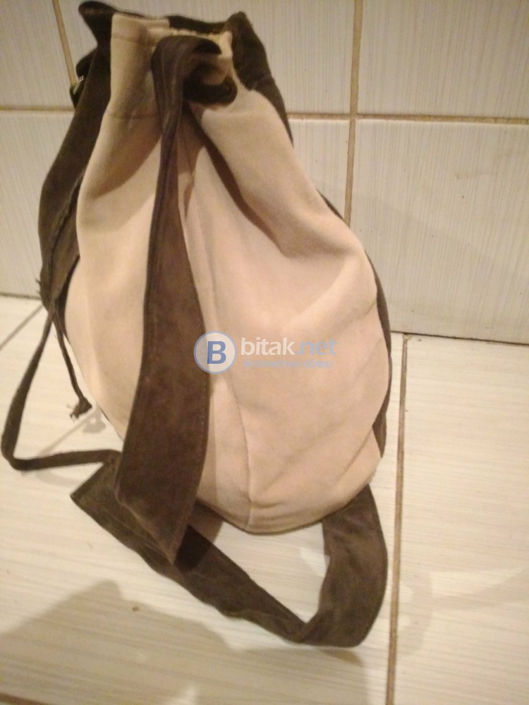 Дамска чанта в два цвята от естествена кожа