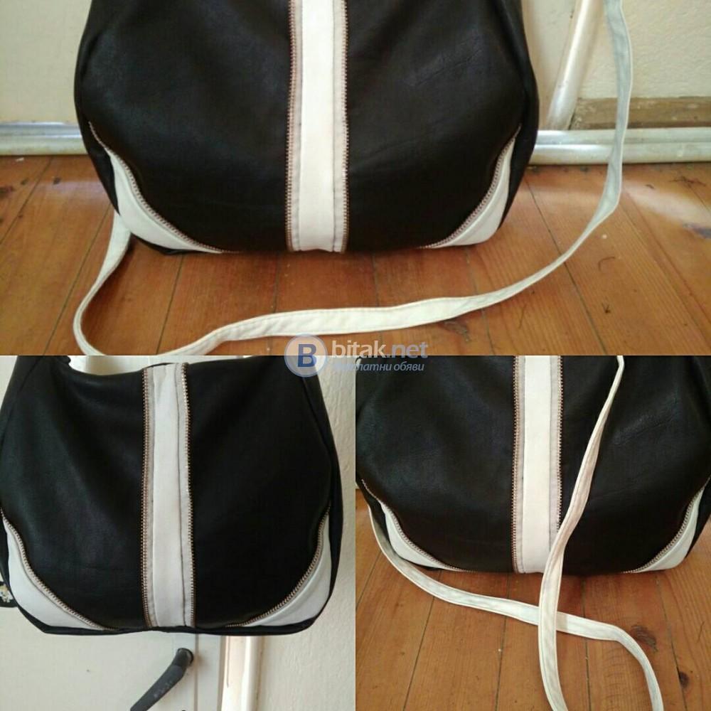 Дамска чанта в черно и бяло от естествена кожа