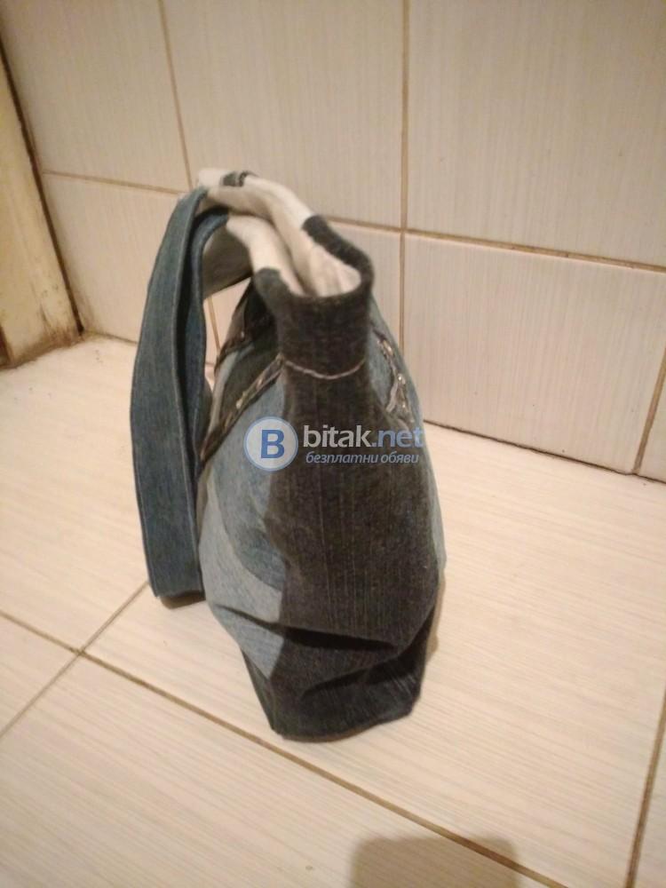 Дамска дънкова чанта на райета