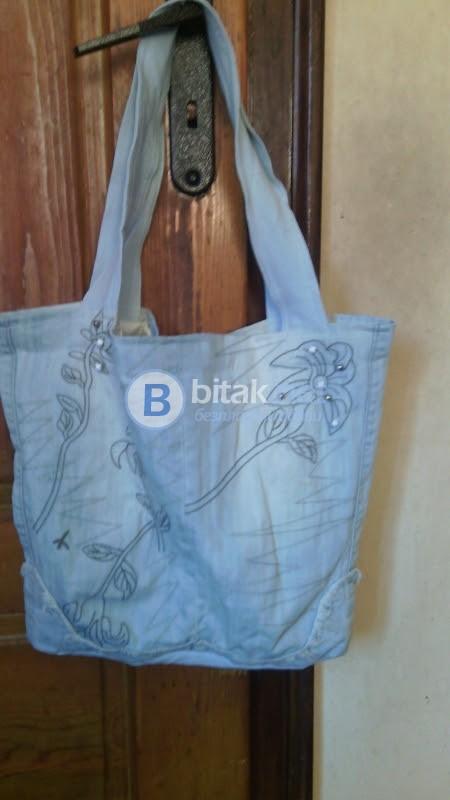 Дънкова чанта с бродерия