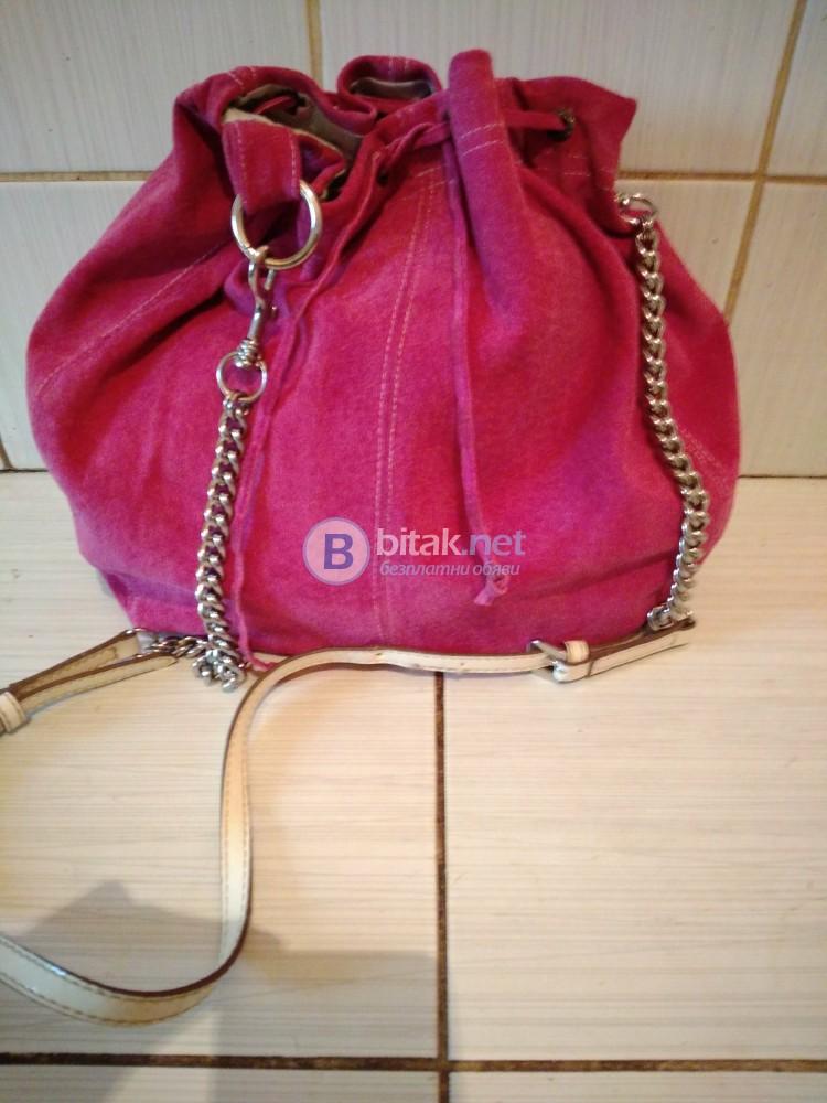 Дамска чанта от естествена кожа със синджири