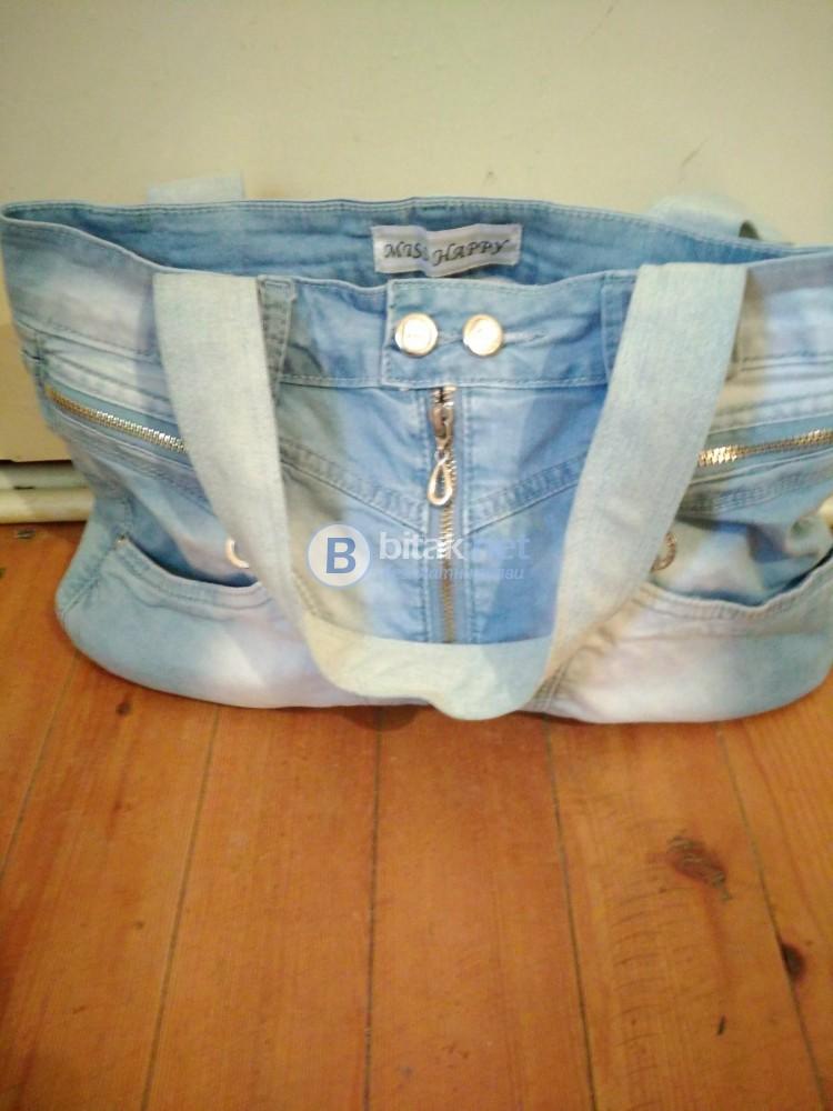 Дамска дънкова чанта с ципове