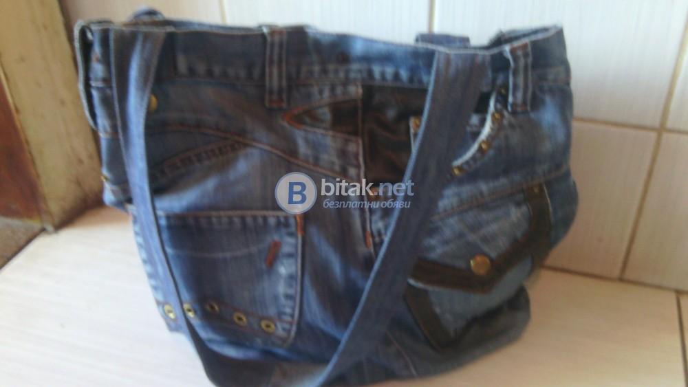 Дамска дънкова чанта с кожа и капси