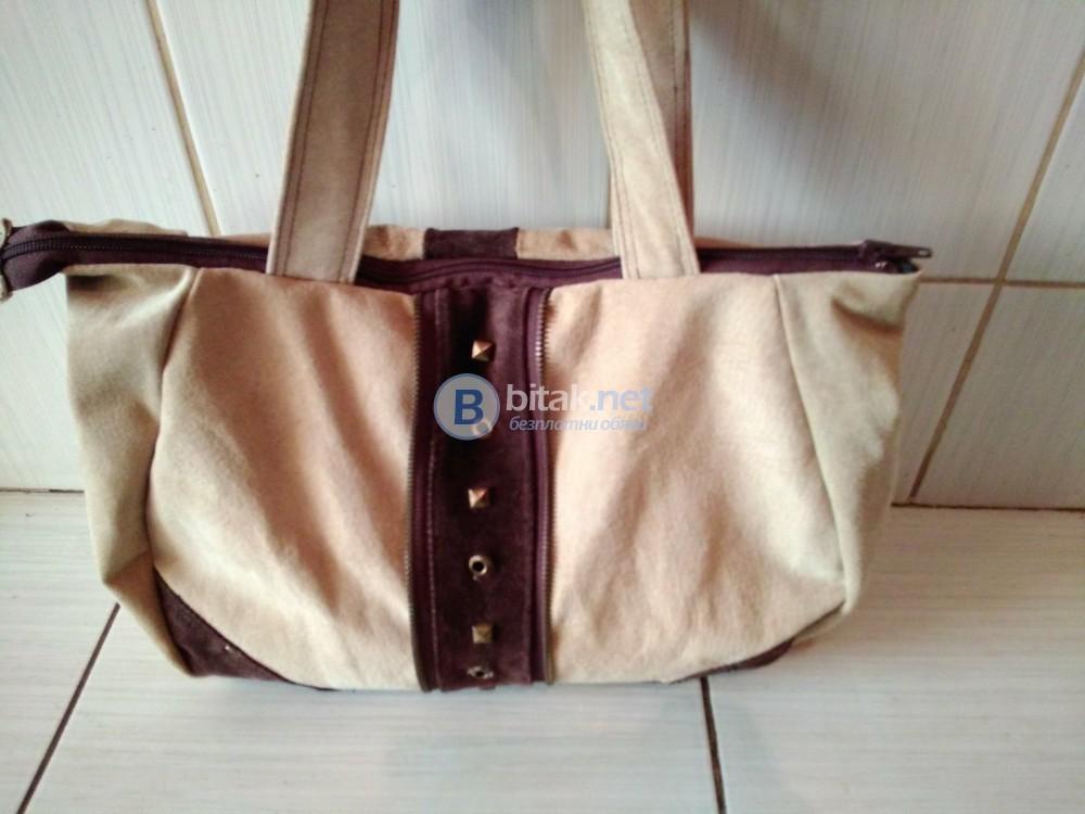 Дамска чанта с капси от естествена кожа