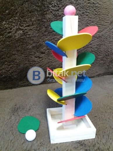 Образователна Детска дървена играчака Монтесори Дърво Пирамида Пъзел Нова