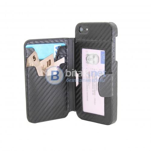 Кейс-портмоне за iPhone 4/4s с ефект карбонови нишки