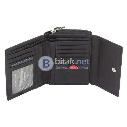 Портмоне от естествена кожа, RFID защита за безконтактни кредитни карти