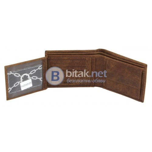 Портфейл от естествена кожа, RFID защита за безконтактни кредитни карти