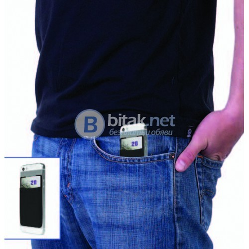 Хитро джобче-портмоне за смартфон черно