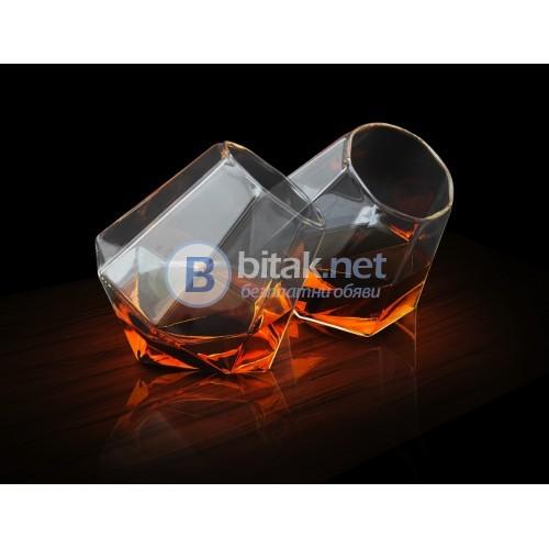 Луксозен сет чаши за уиски с форма на диамант