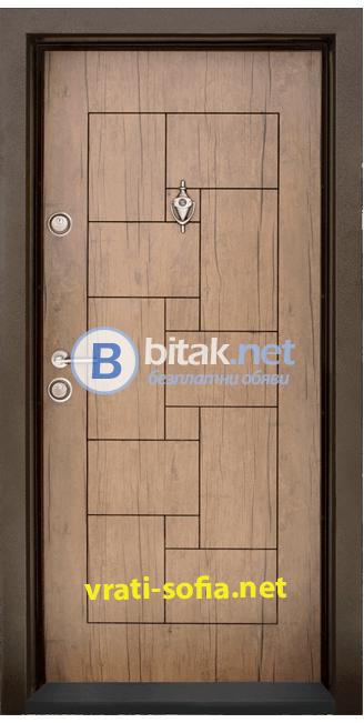 Блиндирана входна врата T-100, цвят Антик