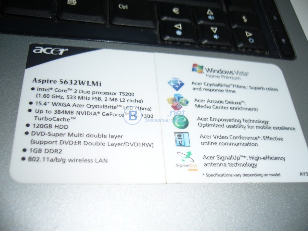 Laptop Acer Aspire-5632, неработещ