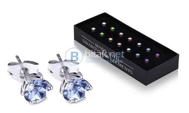 Лот от 7 чифта обеци украсени с кристали на СВАРОВСКИ