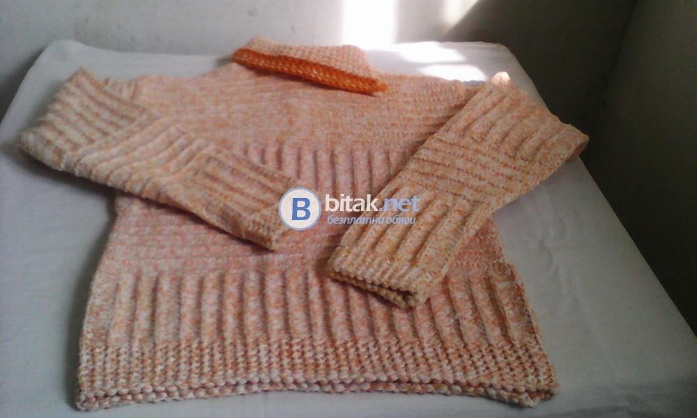 Пуловер ръчно плетен  юношески с дълак ръкав