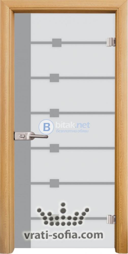 Стъклена интериорна врата, Sand G 14-5, каса Светъл дъб