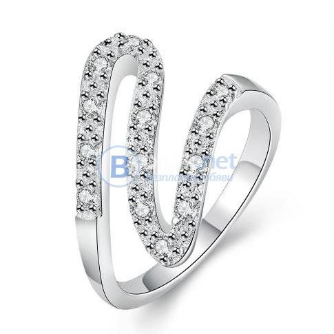 Дамски пръстен с камъчета сребърно покритие 925