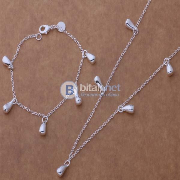 Комплект бижута капка капчици сребърно покритие 925 обеци гривна колие пръстен