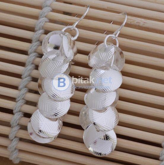 Дамски висящи обеци болт сребърно покритие обици 925 Silver бижута накити пиърсинг
