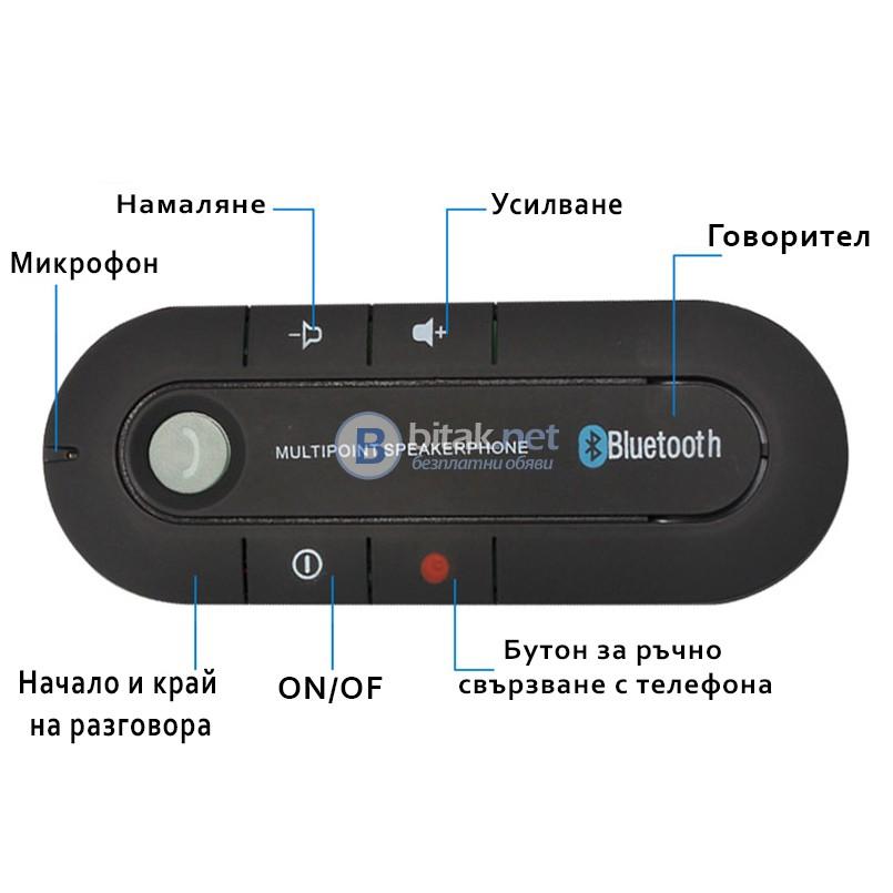 Магнитен блутут говорител за кола Bluetooth handsfree mp3 колонка Нова