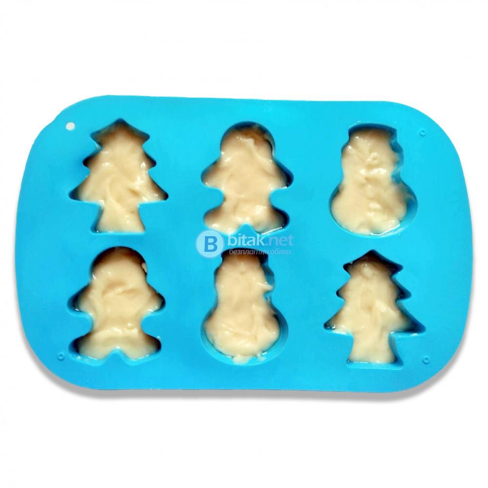 Силиконови форми за печене молд за мъфини коледни сладки бисквити
