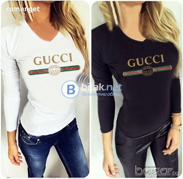 ПРОМО! Дамски блузи с GUCCI / ГУЧИ принт! Поръчай модел С Твоя идея!