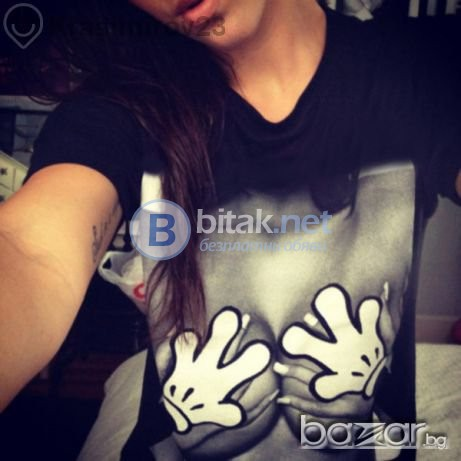 Дамска тениска Mickey Mouse Hands Off PHILIPP PLEIN - реплика! Бъди различна поръчай с твоя снимка!