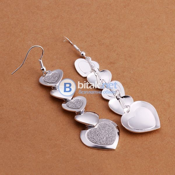 Дамски обеци сребърно покритие 925 падащи сърца блестящи официални бижута