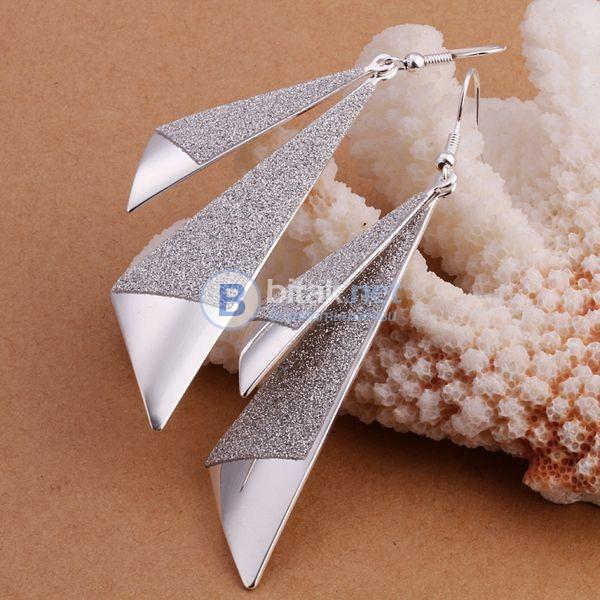 Блестящи дамски обеци сребърно покритие 925 висящи обици за парти