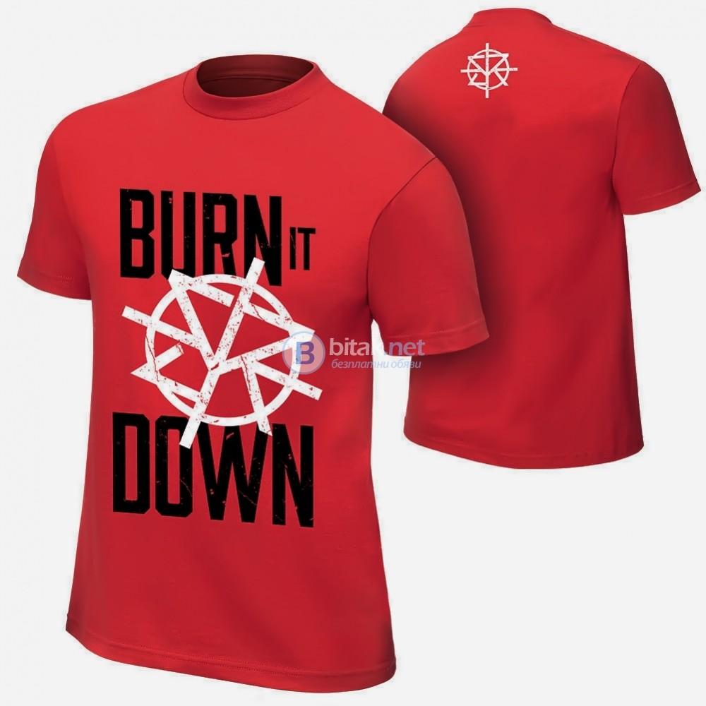 WWE! Мъжки и Детски кеч тениски SETH ROLLINS BURN IT DOWN! Поръчай модел с твоя снимка!
