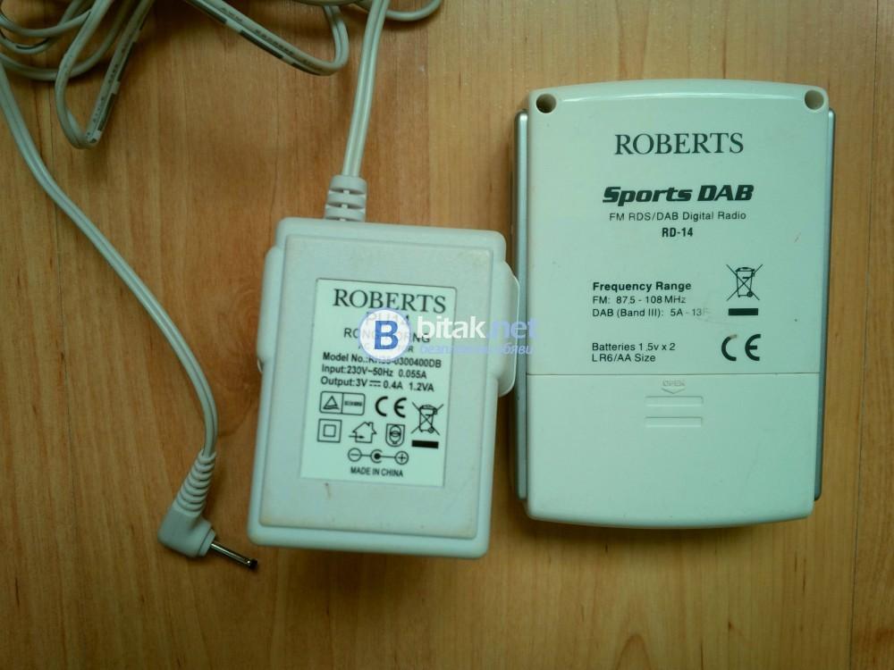 ROBERTS RD-14, английско дизайнерско спортно радио с DAB/FM тунер с RDS, цена като ново £110-120